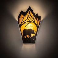 Meyda Tiffany 174333 Bear at Dawn Country Textured Black Fluorescent Wall Sconce
