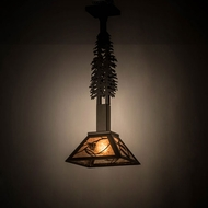 Meyda Tiffany 175101 Whispering Pines Tall Pines Rustic Oil Rubbed Bronze / Silver Mica Drop Ceiling Lighting