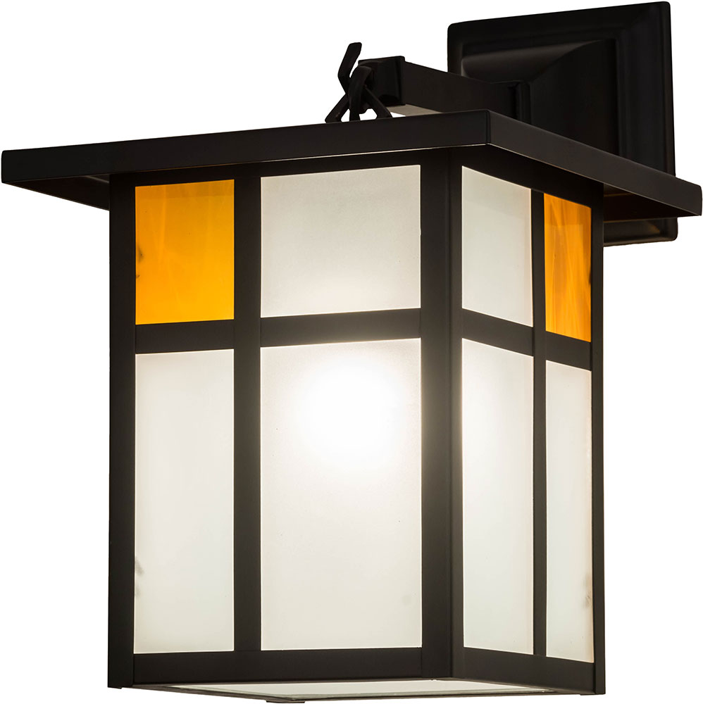 Meyda Tiffany 175280 Hyde Park Craftsman Clear Frosted Inside Solar Black Powdercoated Outdoor Lighting Wall Sconce Loading Zoom