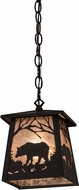 Meyda Tiffany 175566 Bear at Dawn Rustic Oil Rubbed Bronze / Silver Mica Mini Lighting Pendant