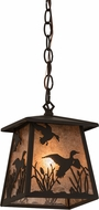 Meyda Tiffany 175699 Ducks in Flight Rustic Oil Rubbed Bronze / Silver Mica Mini Hanging Lamp