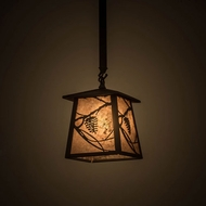 Meyda Tiffany 176037 Whispering Pines Oil Rubbed Bronze / Silver Mica Mini Hanging Light Fixture