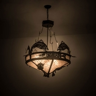 Meyda Tiffany 176211 Catch of the Day Rustic Timeless Bronze / Silver Mica Drop Ceiling Lighting