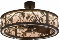 Meyda Tiffany 176825 Whispering Pines Country Oil Rubbed Bronze / Silver Mica LED Chandel-Air Ceiling Fan