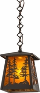 Meyda Tiffany 177127 Tall Pines Wrought Iron / Amber Mica Mini Pendant Lighting