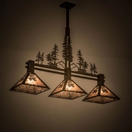 Meyda Tiffany 177349 Balsam Pine Tall Pines Rustic Antique Copper / Silver Mica Kitchen Island Light Fixture