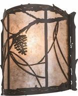 Meyda Tiffany 177793 Whispering Pines Rustic Timeless Bronze / Silver Mica Wall Light Fixture