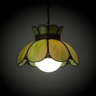 Meyda Tiffany 178119 Anabelle Tiffany Avocado Craftsman Brown Highlighted Ceiling Pendant Light