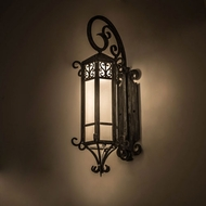Meyda Tiffany 178196 Caprice Lantern Traditional Antique Iron Gate Frosted Seedy Glass Wall Lighting Sconce