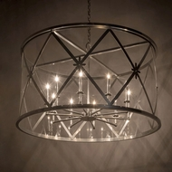 Meyda Tiffany 178338 Penelope Extreme Chrome / Clear Acrylic Drum Pendant Lamp