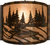 Meyda Tiffany 178368 Kayaker Country Dark Burnished Antique Copper Silver Mica Wall Mounted Lamp
