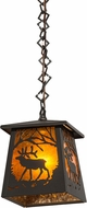Meyda Tiffany 178384 Elk at Dawn Wrought Iron / Amber Mica Mini Pendant Light