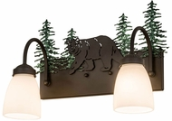 Meyda Tiffany 178438 Northwoods Lone Bear Country Oil Rubbed Bronze Green Trees 2-Light Bathroom Light Sconce