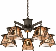 Meyda Tiffany 178527 Scotch Pine Timeless Bronze / Silver Mica Chandelier Lamp