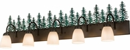 Meyda Tiffany 178529 Tall Pines Rustic Timeless Bronze / Green Trees 5-Light Bathroom Lighting Sconce