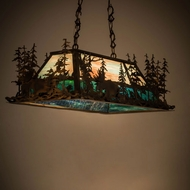 Meyda Tiffany 178862 Moose at Dusk Country Dark Burnished Antique Copper Purple / Blue / Green Kitchen Island Light