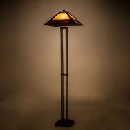 Meyda Tiffany 179148 Mission Prime Tiffany Mahogany Bronze / Amber Light Floor Lamp
