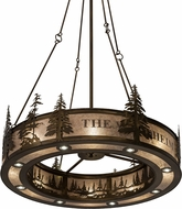 Meyda Tiffany 179750 Personalized Waldheim Country Antique Copper / Silver Mica Drum Hanging Light Fixture