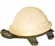 Meyda Tiffany 18007 Turtle Art Glass Country White Novelty Lamp