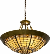 Meyda Tiffany 180290 Fleur-de-Lite Tiffany Brass Pendant Lighting