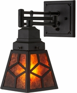 Meyda Tiffany 180314 Diamond Mission Textured Black / Amber Mica Swing Arm Wall Sconce