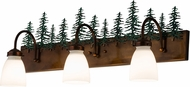 Meyda Tiffany 180396 Tall Pines Rustic Vintage Copper / Green Trees Lighting For Bathroom