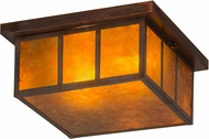Meyda Tiffany 180850 Hyde Park Double Bar Mission Amber Mica Vintage Copper Interior / Exterior Flush Mount Light Fixture