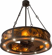 Meyda Tiffany 181388 Whispering Pines Rustic Oil Rubbed Bronze / Amber Mica Ceiling Fan Light Fixture