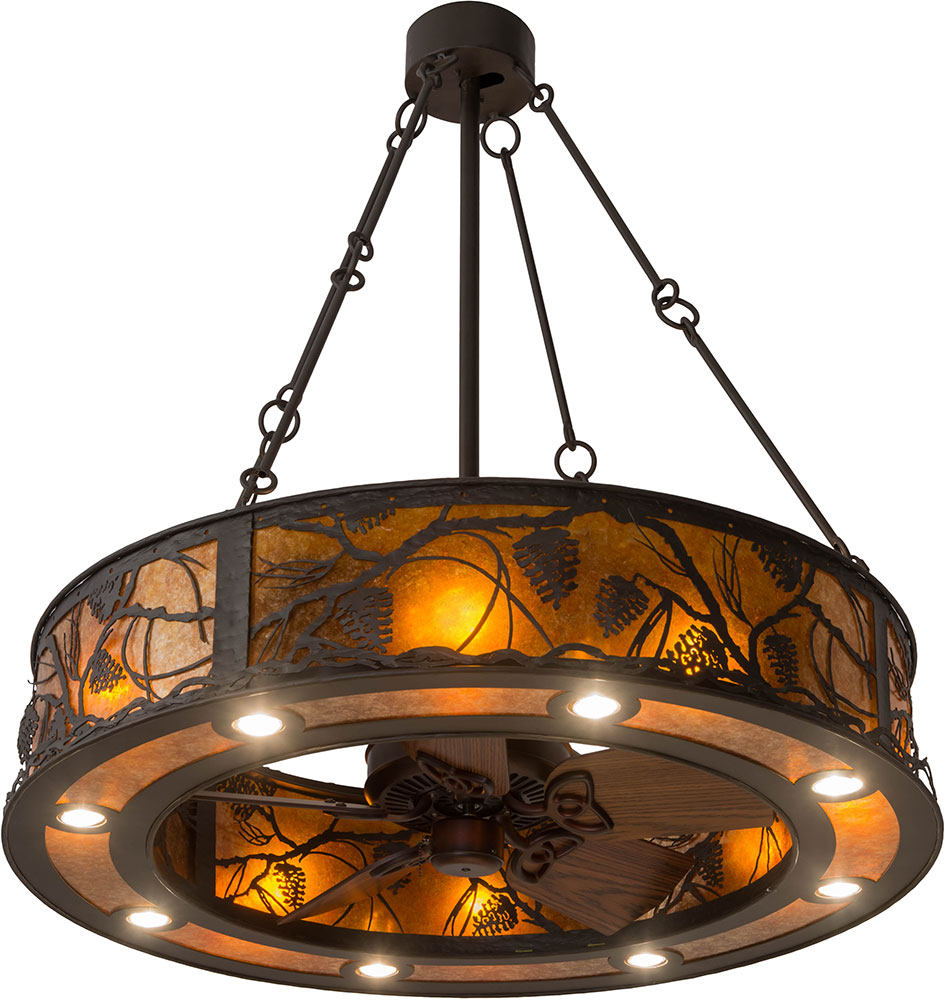 rustic fan light space saving meyda tiffany 181388 whispering pines rustic oil rubbed bronze amber mica ceiling fan light fixture loading zoom