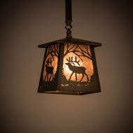 Meyda Tiffany 182067 Elk at Dawn Antique Copper / Silver Mica Mini Hanging Pendant Light