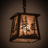 Meyda Tiffany 182076 Tall Pines Antique Copper / Silver Mica Mini Drop Lighting