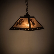 Meyda Tiffany 182082 Diamond Craftsman Balsam Pine Flat Black / Silver Mica Ceiling Light Pendant