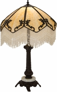 Meyda Tiffany 182162 Regina Tiffany Beige / Fringe Highlighted Crafraftsman Brown Table Top Lamp