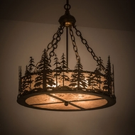 Meyda Tiffany 182298 Tall Pines Antique Copper / Silver Mica Drum Lighting Pendant