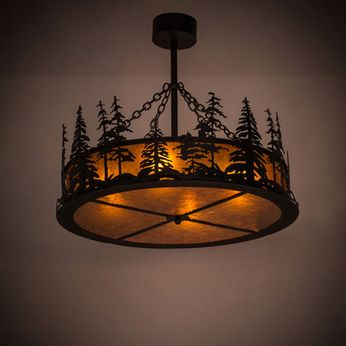 Meyda Tiffany 183244 Tall Pines Rustic Textured Black / Amber Mica Drum Hanging Lamp