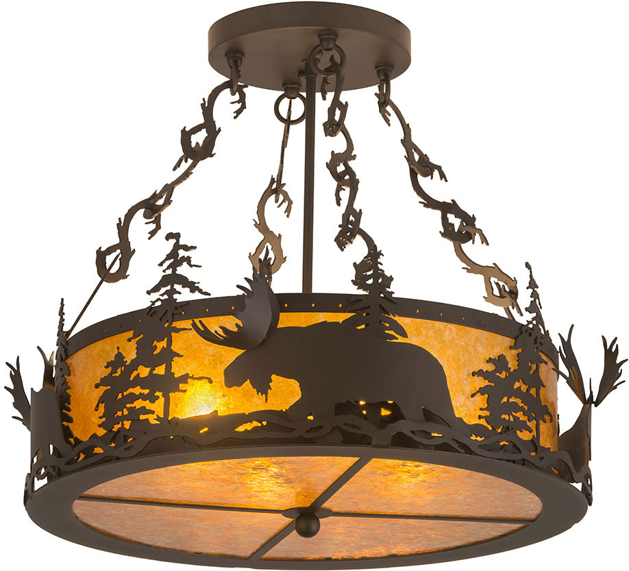 Meyda Tiffany 184160 Moose At Dusk Rustic Oil Rubbed Bronze Amber Mica Drum Hanging Pendant Loading Zoom