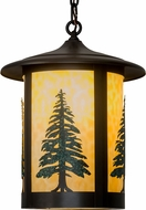 Meyda Tiffany 184304 Fulton Tall Pines Rustic Beige Indoor / Outdoor Hanging Pendant Light