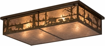 Meyda Tiffany 184447 Bears and Moose at Lake Antique Copper / Silver Mica Overhead Light Fixture