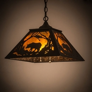 Meyda Tiffany 185546 Bear at Dawn Textured Black / Amber Mica Interior / Exterior Ceiling Pendant Light