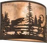 Meyda Tiffany 185798 Fly Fishing Creek Oil Rubbed Bronze / Silver Mica Wall Sconce