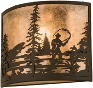 Meyda Tiffany 185802 Fly Fishing Creek Oil Rubbed Bronze / Silver Mica Wall Lamp