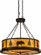 Meyda Tiffany 186296 Wildlife at Dusk Rustic Textured Black / Amber Mica Drum Hanging Lamp