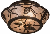 Meyda Tiffany 186439 Whispering Pines Rustic Oil Rubbed Bronze / Silver Mica Flush Lighting