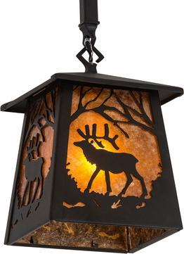 Meyda Tiffany 187088 Elk at Dawn Textured Black / Amber Mica Mini Pendant Hanging Light