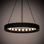 Meyda Tiffany 187107 Loxley Contemporary Black Textured LED Chandelier Lighting