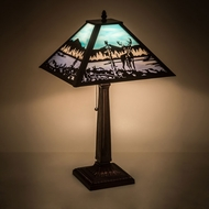 Meyda Tiffany 187219 Deer at Lake Brown Side Table Lamp