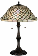 Meyda Tiffany 18728 Diamond & Jewel Tiffany Mahogany Bronze Lighting Table Lamp