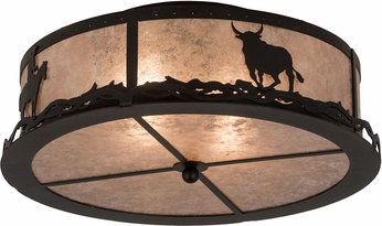 Meyda Tiffany 187291 Cowboy & Steer Textured Black / Silver Mica Overhead Lighting