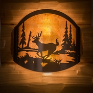 Meyda Tiffany 188367 Deer at Lake Rustic Timeless Bronze Sconce Lighting