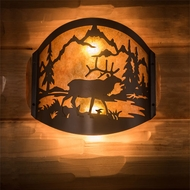 Meyda Tiffany 188369 Elk at Lake Rustic Timeless Bronze Lighting Sconce